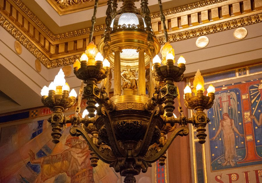 A light fixture in the Supreme Court Chamber of the Pennsylvania Capitol Building in Harrisburg.