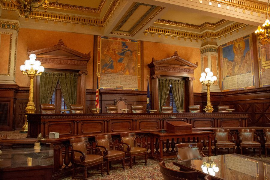 The Supreme Court Chamber of the Pennsylvania Capitol Building in Harrisburg.