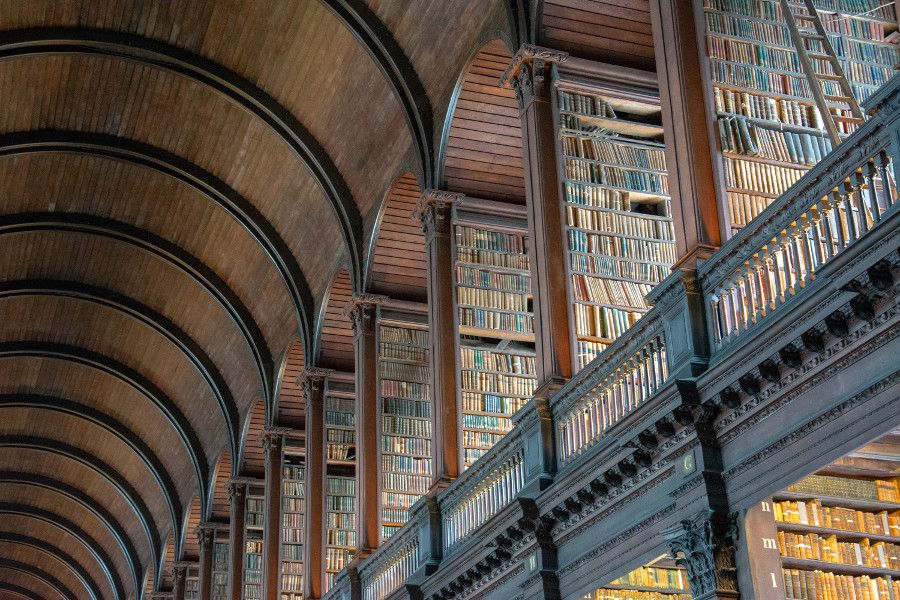 The second floor of the Long Hall of the library at Trinity College Dublin.