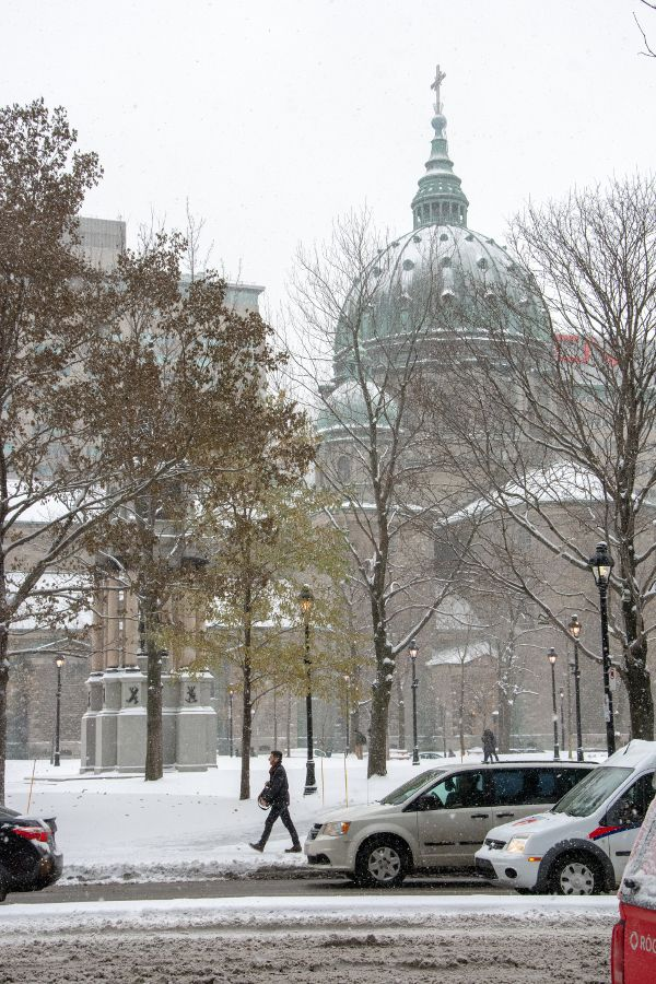 A view of Mary, Queen of the World Cathedral through the snow in Montreal, Canada.