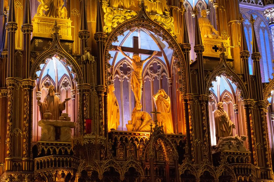 A close up of the ornate altar of the Notre-Dame Basilica in Montreal, Canada.