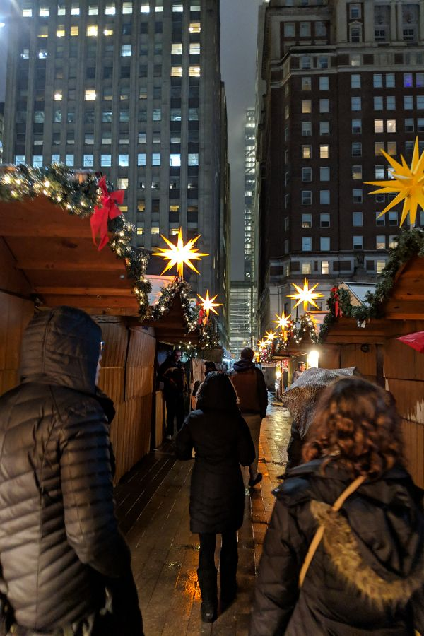 Strolling through the stalls as the Christmas Village in Philadelphia.