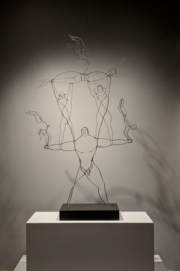A wire work of circus performers by Alexander Calder.
