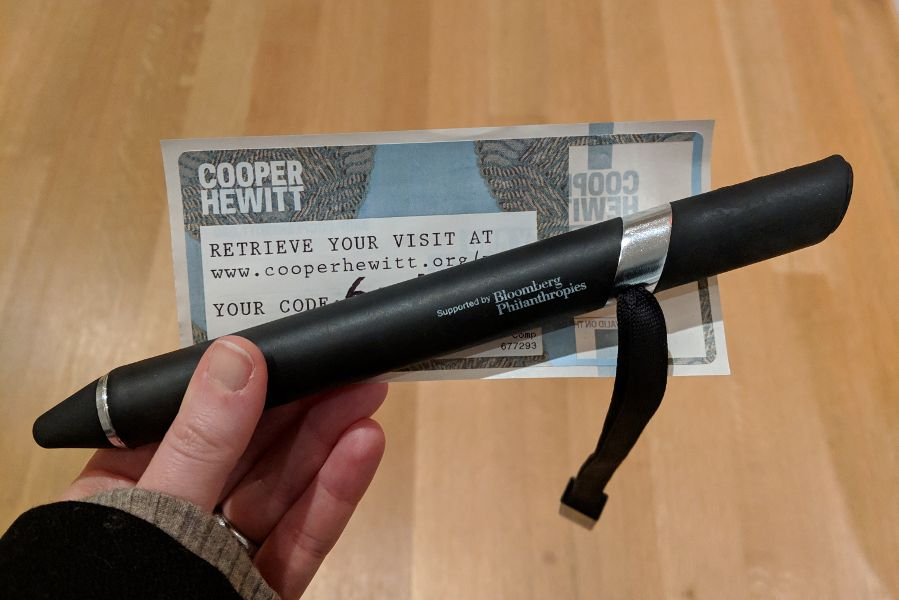 Visitors to the Cooper Hewitt Museum receive a stylus for interacting and saving items.