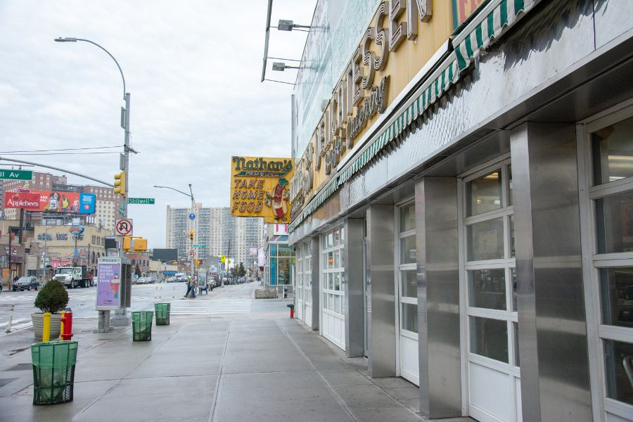 Outside of Nathan's Famous, the original Coney Island shop.