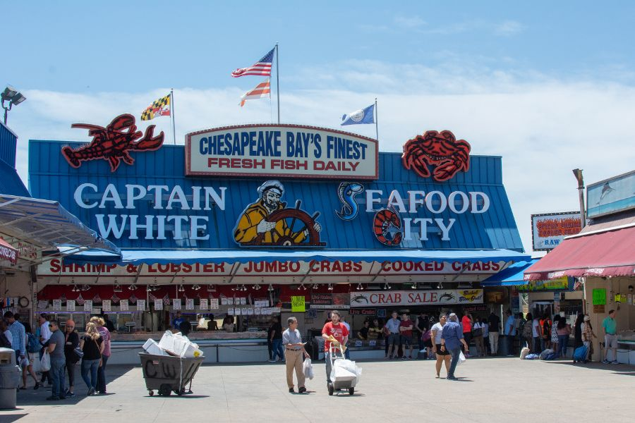 Captain White's Seafood City at the Main Avenue Fish Market at the Wharf DC.