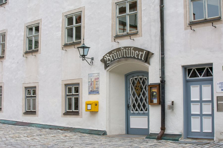 The exterior of the Andechs Bräustüberl, or pub.