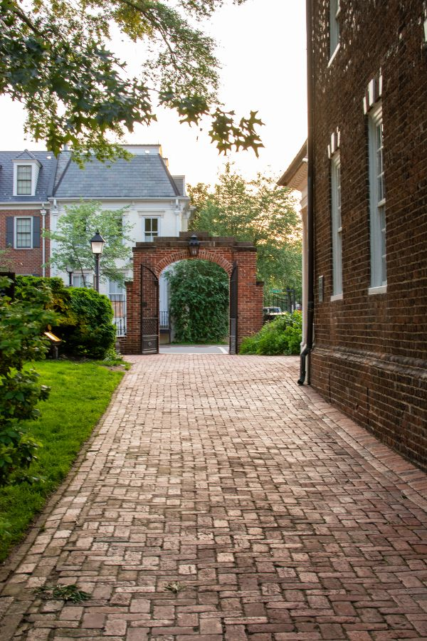 A brick walkway at the Christ Church in historic Alexandria, Virginia.