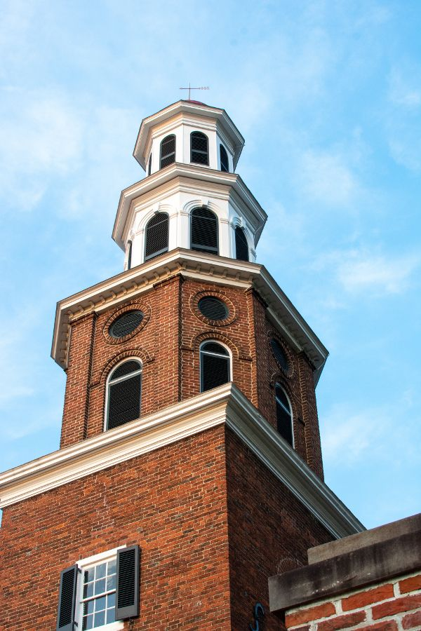 Steeple of the historic Christ Church in Alexandria, Virginia.