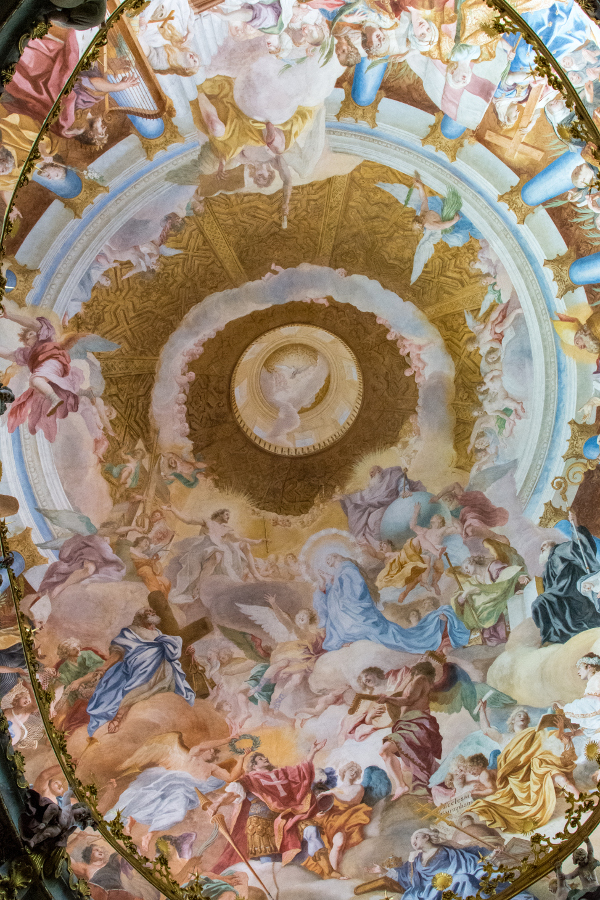 An elaborate ceiling fresco in the inside of the dome of the Kloster Weltenburg church.