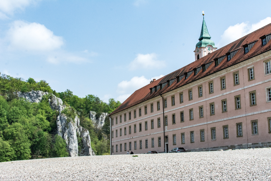Kloster Weltenburg's imposing building sits along stony beaches in the Donaudurchbruch, or Danube River Gorge.
