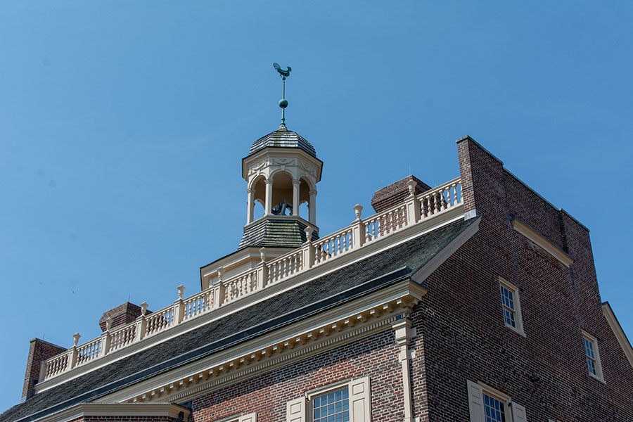 The cupola atop the Dover Old State House, complete with a Delaware Blue Hen.