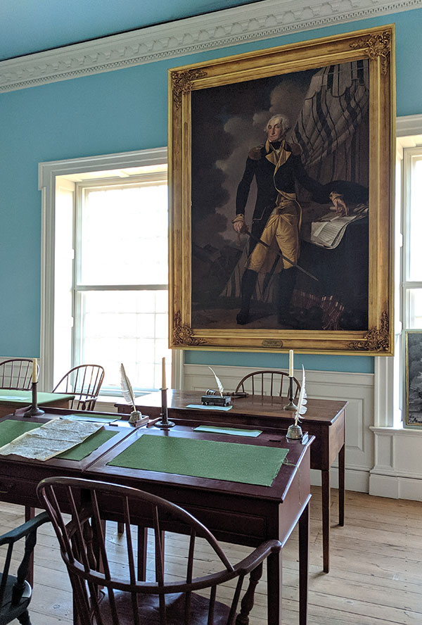 A lifesize painting of George Washington hangs in a chamber of the Old State House in Dover.