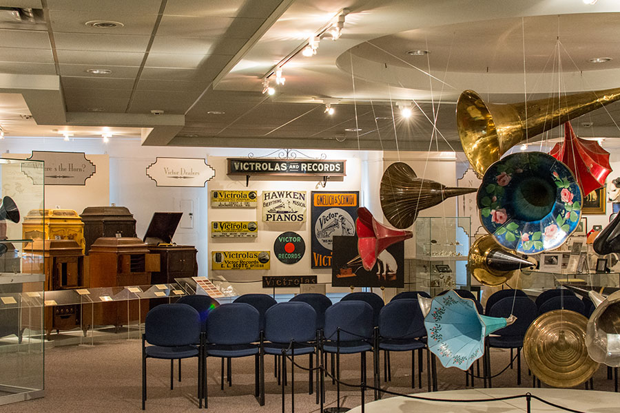Exhibits upstairs at the Johnson Victrola Museum.