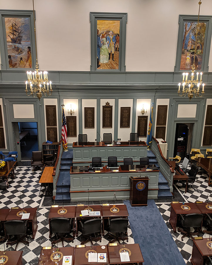 A view from the public gallery of a chamber of the Delaware Legislative Hall.