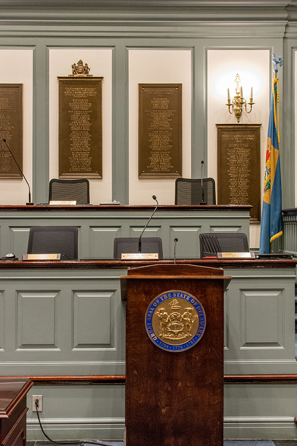 A chamber of the Delaware Legislative Hall.