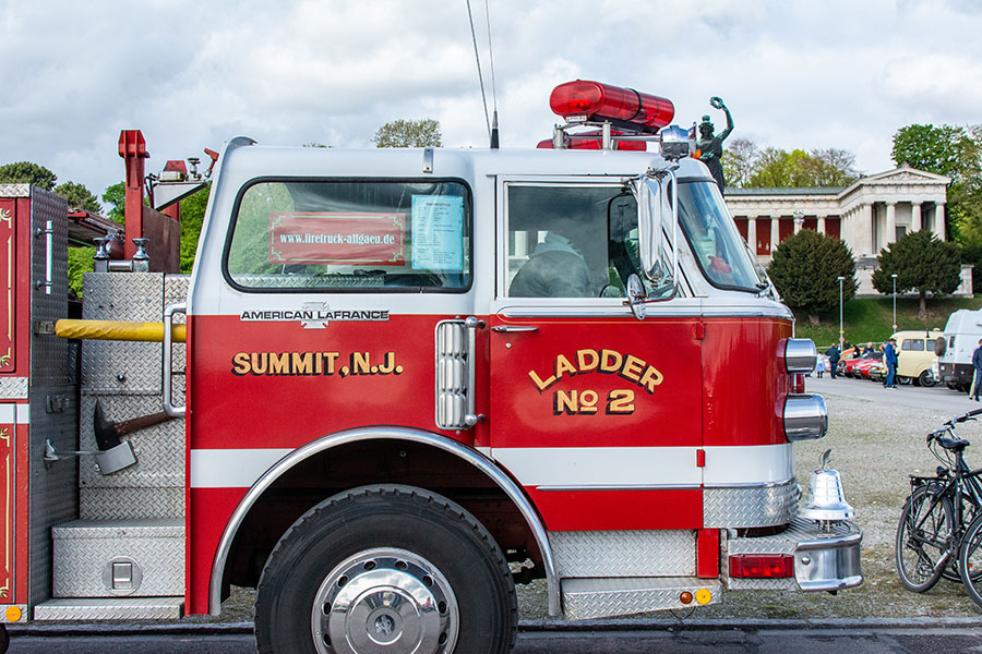 Close up of a fire engine from Summit, NJ, on the Wiesn for the ACM Oldtimer-Treffen.