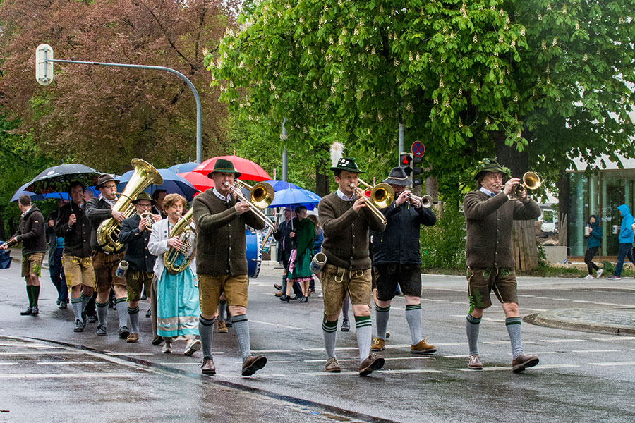 A brass band, or Blasband, parades through the streets of Munich towards the Wiesn.