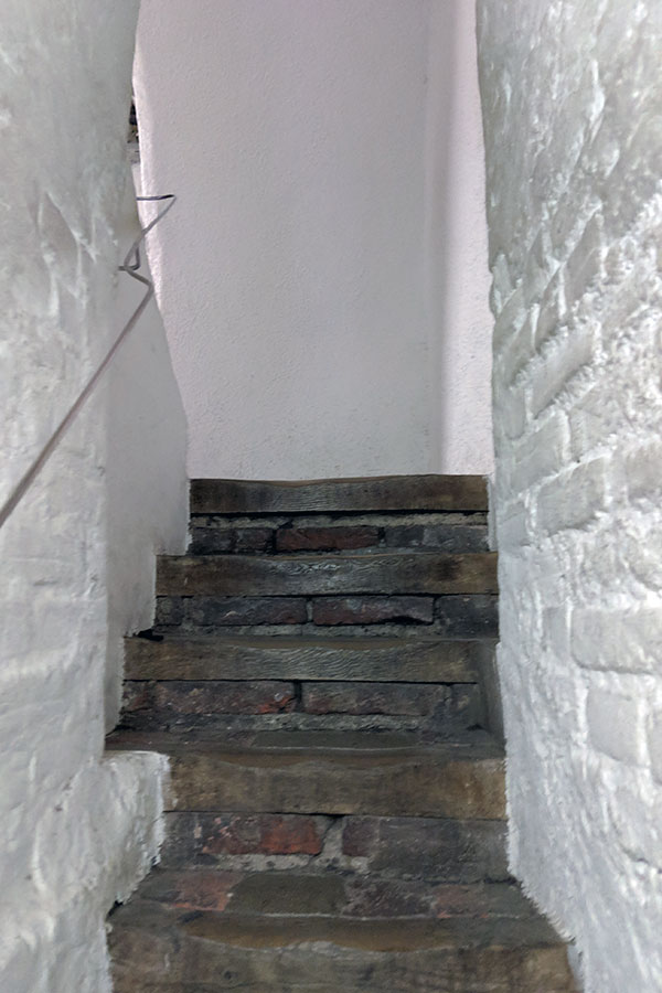Steps leading into the tower of Alter Peter in Munich.