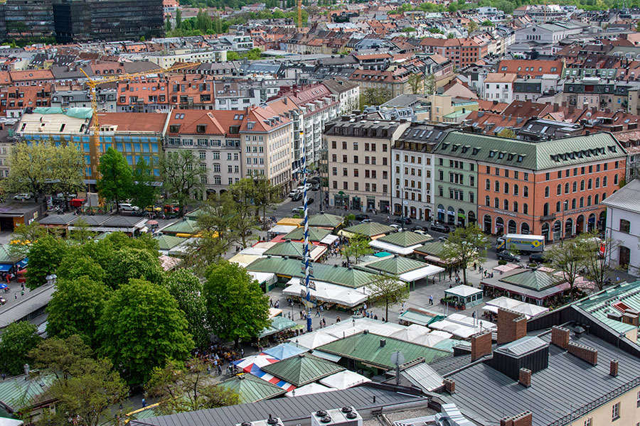 A view over Viktualienmarkt from St. Peter's Church tower.