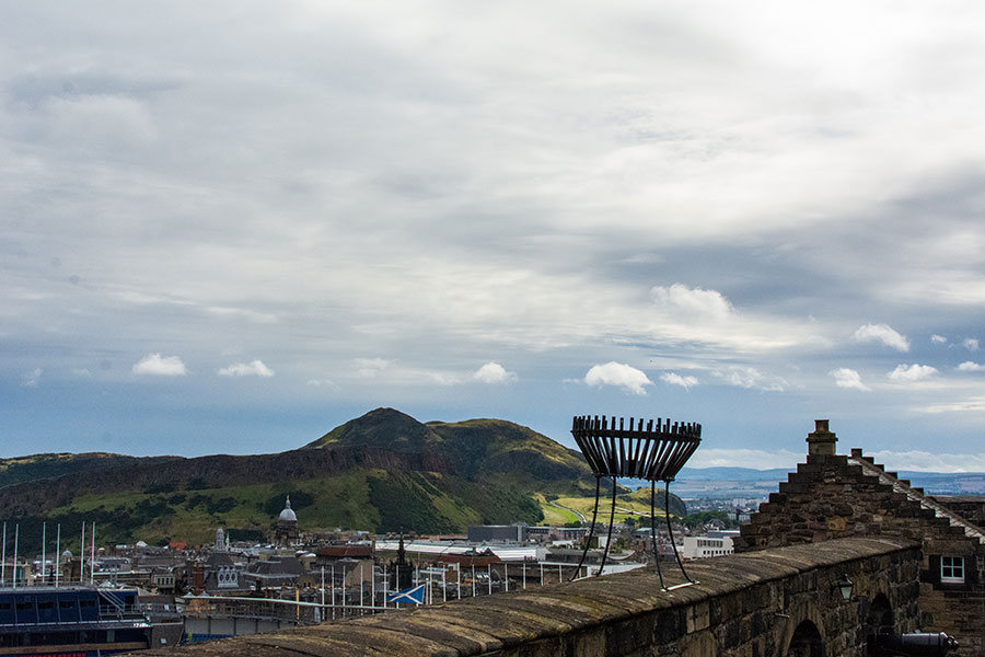A view of Arthur's Seat from the top of Edinburgh Castle.