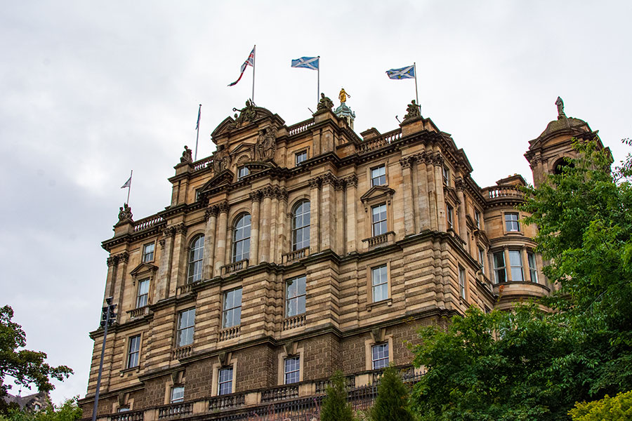 The Bank of Scotland stands impressively over the Princes Street Garden.