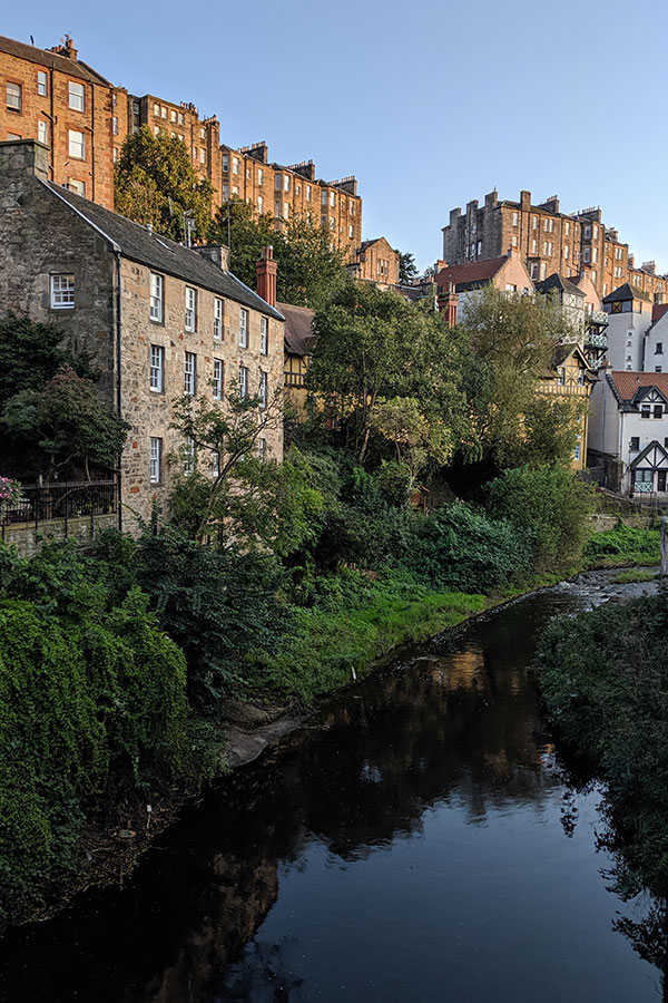 The Water of Leith flows through the historic and picturesque Dean Village of Edinburgh.