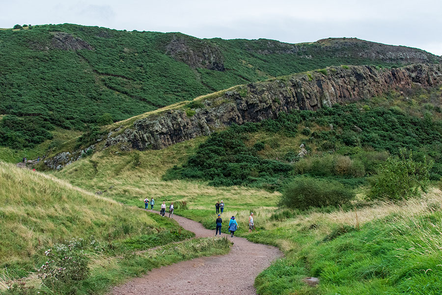 A path leads adventurers through Holyrood Park and up to Arthur's Seat.