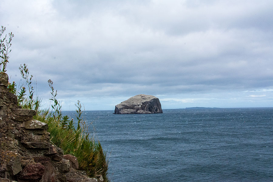 Bass Rock sits off the coast of East Lothian, Scotland.