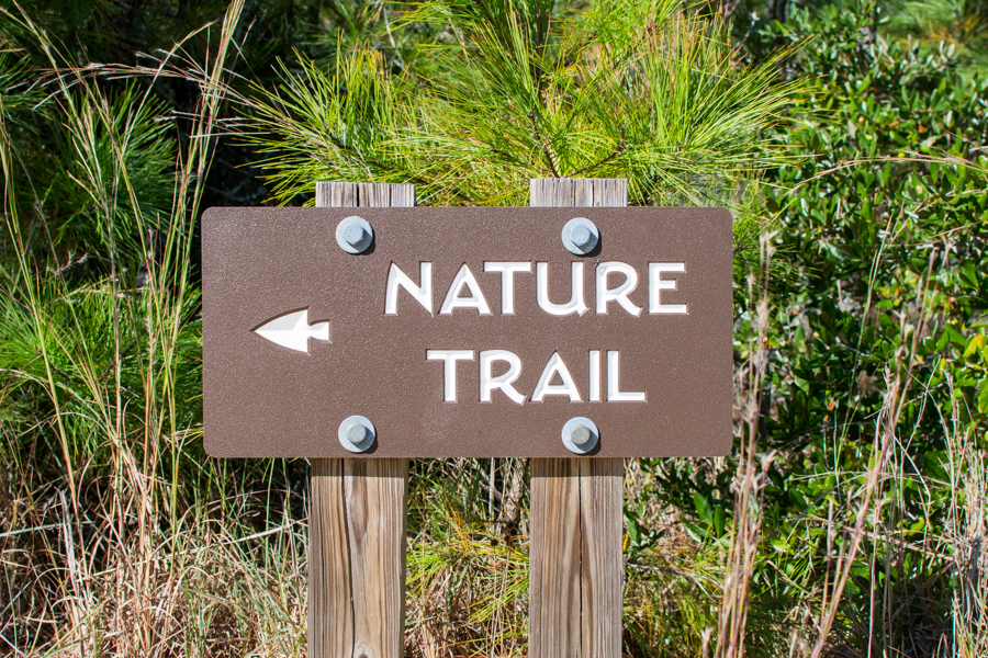 A sign for the nature trail at Jockey's Ridge.