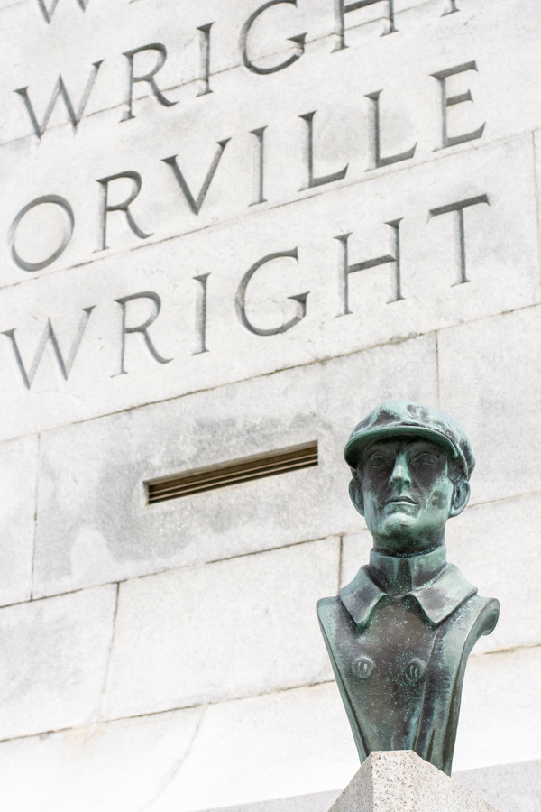A bust sits outside of the Wright Brothers Memorial in Kill Devil Hills, North Carolina.