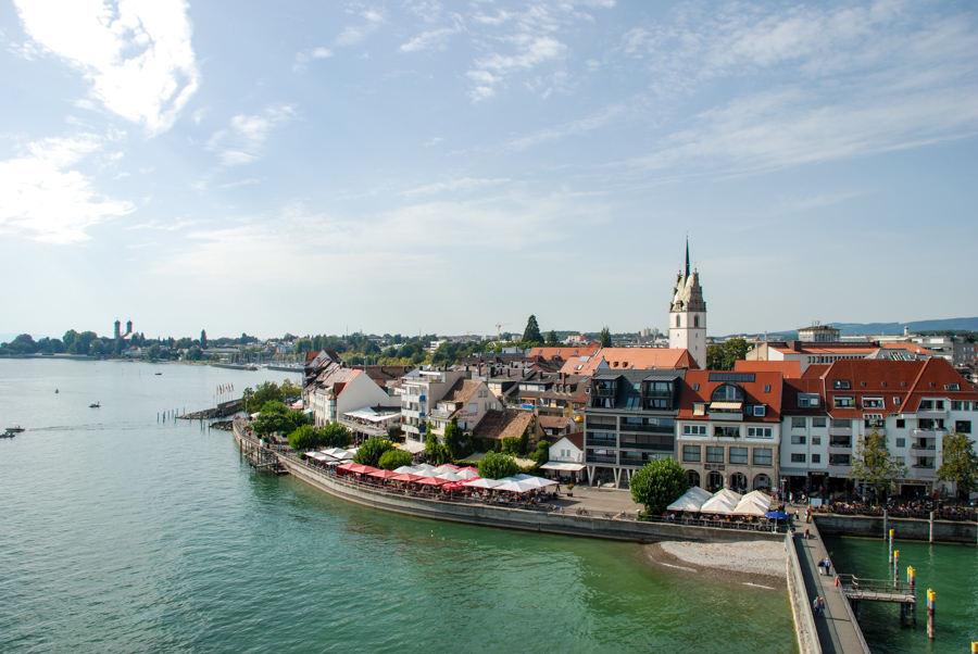 The town of Zeppelin, Friedrichshafen is one of several towns that ring the Bodensee, or Lake Constance.