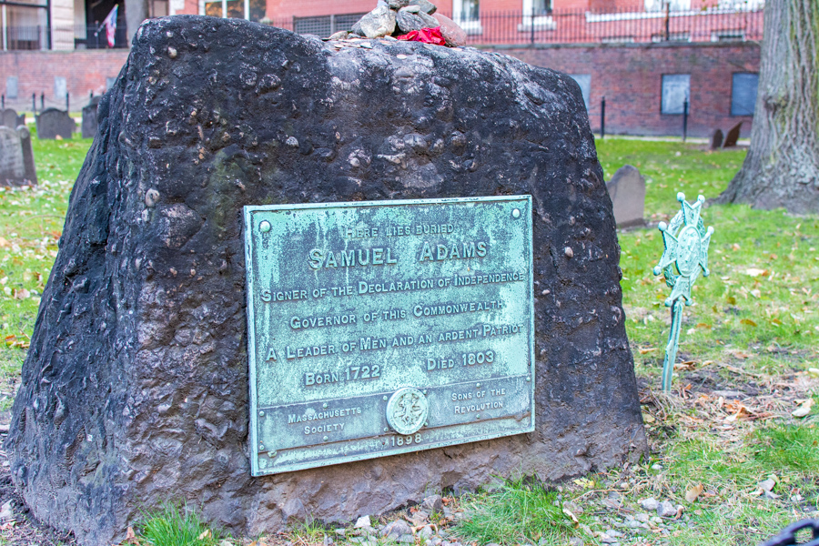 The headstone of Samuel Adams at Granary Burying Ground in Boston.