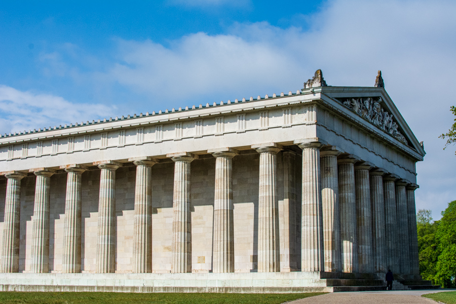 The massive Walhalla sits overlooking the Danube River Valley just outside Regensburg, Germany.