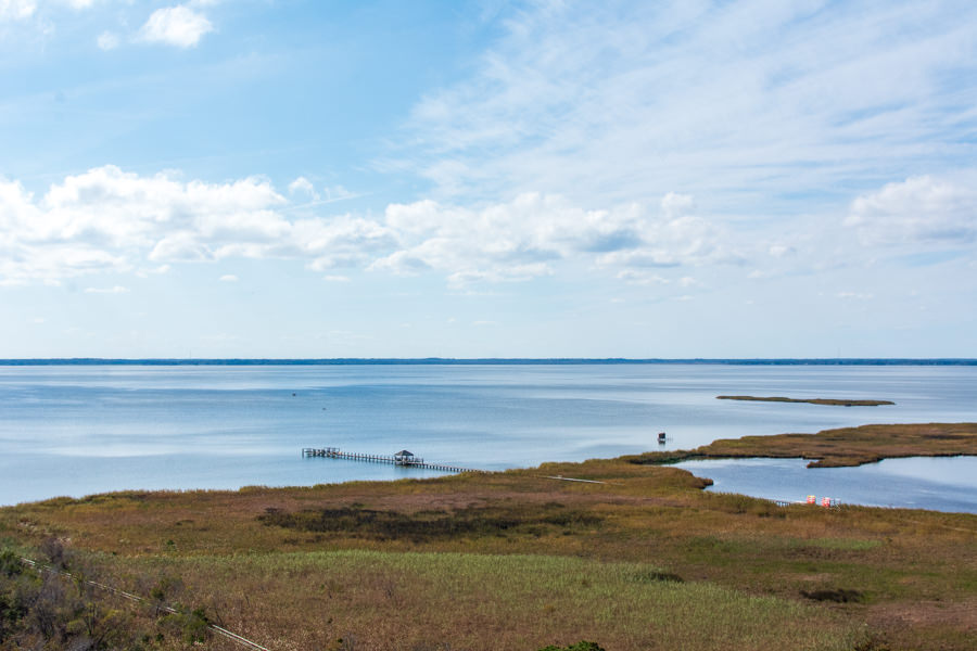 A view of the Currituck Sound waterfront from atop the Currituck Beach Lighthouse.