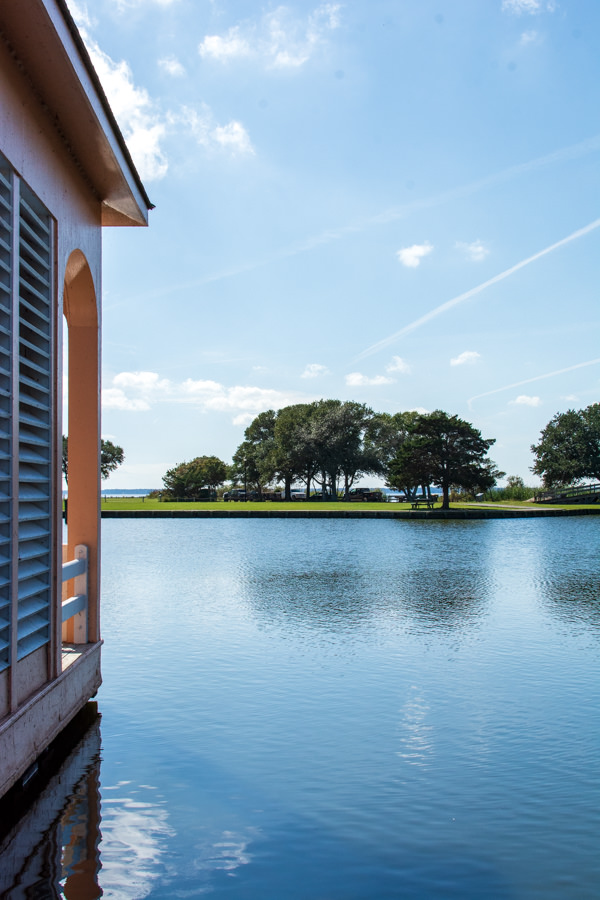 A view onto the Currituck Sound in the Historic Corolla Park from the boathouse.