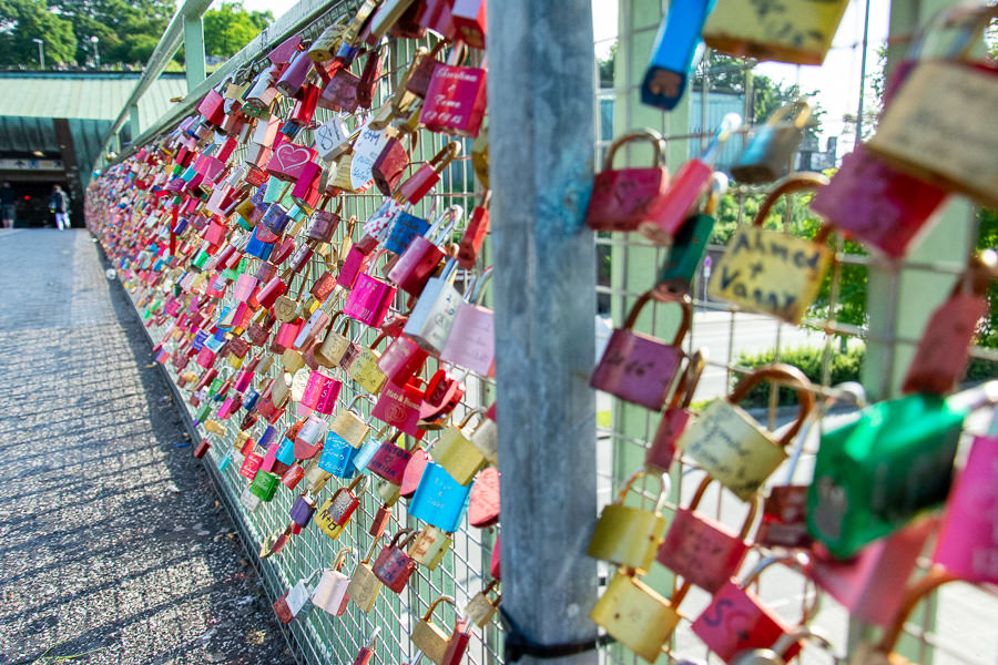 Love locks line a fence at the Landungsbrücken.