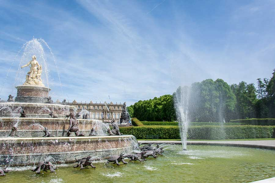 The unfinished fountains at Herrenchiemsee palace are replicas of those from Versailles.