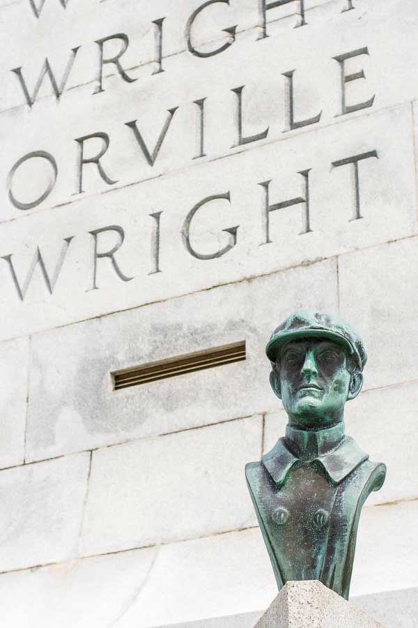 A bust of one of the Wright Brothers.