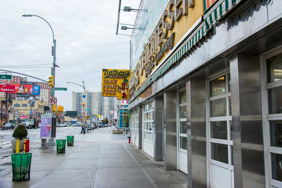Outside of the original Nathan's Famous shop in Coney Island, NYC.