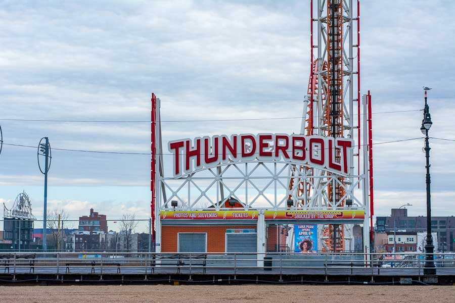 The Thunderbolt roller coaster stands quiet in Coney Island during the winter.