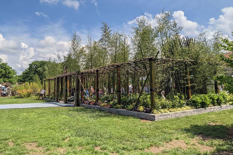Treeline Designz offers a bamboo showpiece at the Philadelphia Flower Show.
