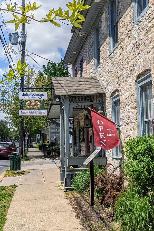 Julius Sturgis Pretzel Bakery in Lititz, PA, is the oldest commercial pretzel bakery in the USA.