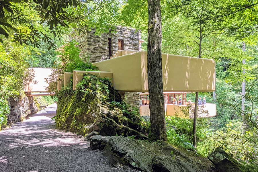 A back view of Fallingwater, showing off the cantilevers.