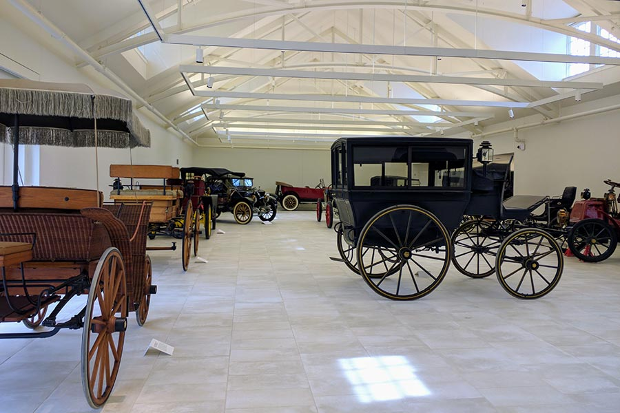 The Car and Carriage Museum at the Frick Pittsburgh shows historic and vintage vehicles.