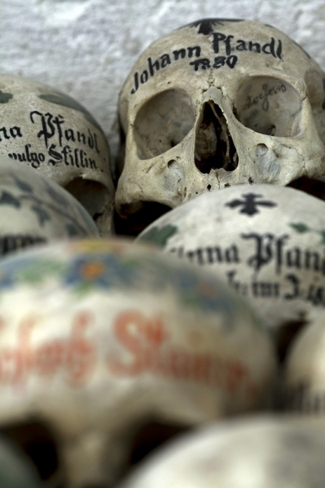 Hallstatt, Austria, painted skulls in local charnel house, once part of a widespread tradition
