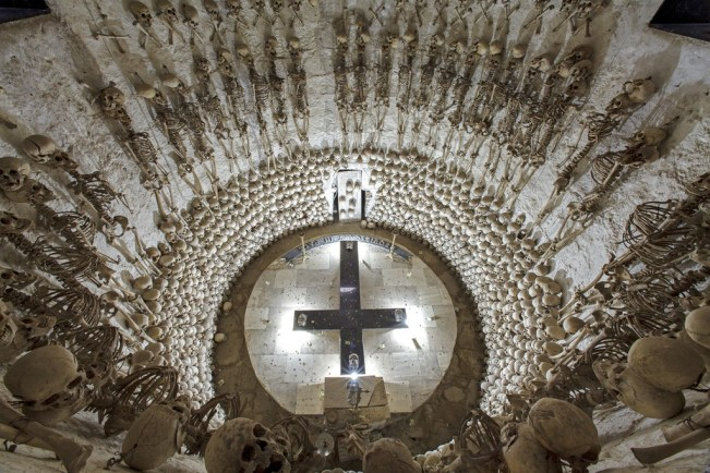 Lampa, Peru looking down into large ossuary tomb beneath the town's church
