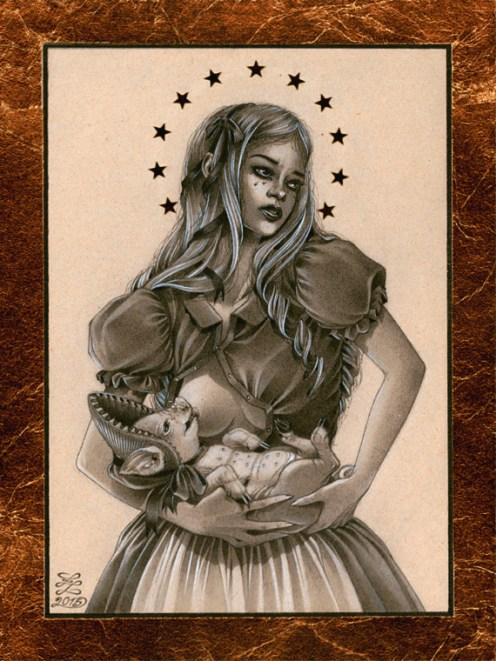 Zoe Lacchei - Saint Alice from Wonderland Graphite, white tempera, gold leaf on recycled paper, 6 by 8