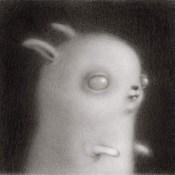 Rene French Zombie Bunny Graphite on vellum 2.25×2.25″