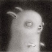Rene French Zombie Bunny Graphite on vellum 2.25×2.25″